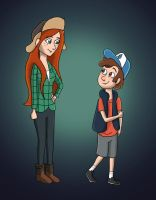 Gravity Falls - Wendy and Dipper by TibsisTops