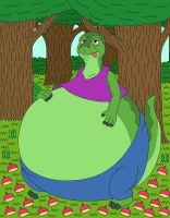 Chubby lizard eat many berries and fruits by MCsaurus