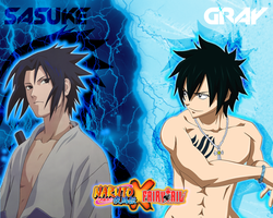 Wallpaper - NarutoXFairy Tail : Sasuke and Gray by DlynK