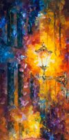 Red Umbrella 2 by Leonid Afremov by Leonidafremov