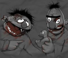 Bert and Ernie Zombies REVAMP by KillerNapkins