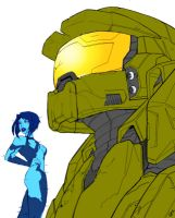 Chief and Cortana by archie321