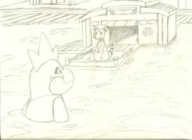 Croconaw stares at Ampharos on a harbor by Mon311
