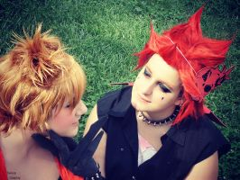 Axel and Roxas - Kiss? :3 by Sweepzebrine