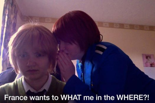 Italy x England (Implied FrUk) [COSPLAY] - HE WHAT by CupidFireAngel