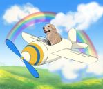 Dog on a Plane Ghibli Style by choyuki