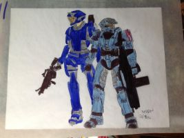 Halo: Spartan blue 2 and 3 by Brutechieftan