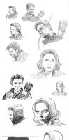 Clint and Natasha character studies by astridv