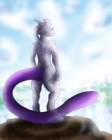 Mewtwo overlooking the sea by Blue-Uncia