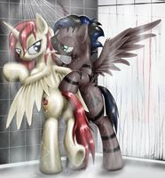 Akira and Stormy in shower by Mekamaned