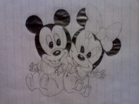 Baby Mickey and Minnie Mouse by FeatherThatIs