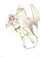 Girl and dragon by Kutty-Sark