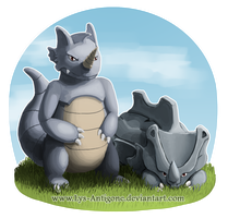 #111-112 Rhyhorn and Rhydon by Lys-Antigone