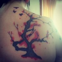 Tattoo on my mums back (self taught) by LeashyXD