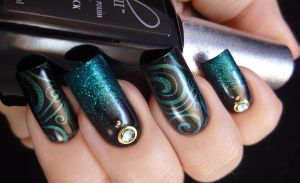 Glitter and Stamped Nail Art by TenLittleCanvases