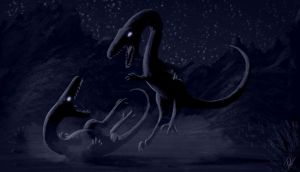 Coelophysis Fight Rough SpeedPaint by FredtheDinosaurman