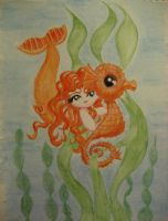 Mermaid with Seahorse by noelle23