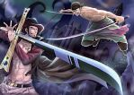 Mihawk vs Zoro by Eternal-S