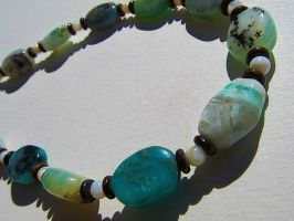 Blue Peruvian Opal Beaded Necklace by SadiesAccessories