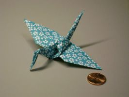 Origami crane with scale by snoogaloo