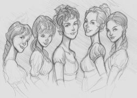 Pride and Prejudice Girls by DaveJorel