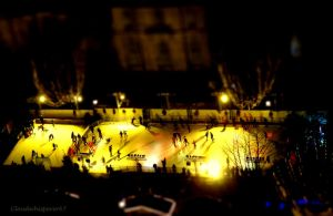Tiny Night Ice Skaters on the Golden Rink by Cloudwhisperer67