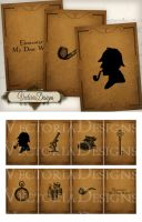 Printable Sherlock Holmes ATC images by VectoriaDesigns