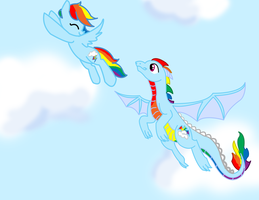 Art trade with Dragon-Flash by sweetchiomlp