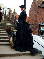 Black gothic 1880s bustle gown by Abigial709b