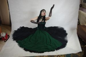 STOCK - Gothic vampire in green - Kathak pose by Apsara-Art