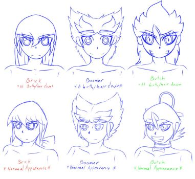RRBD-Rowdy Rough Boys Doujinshi draft head bases.. by NeoEdensKing
