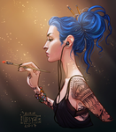 Karou Painting in Light by BlackBirdInk