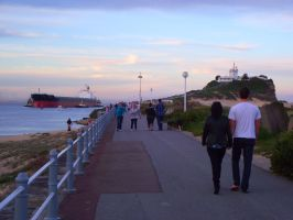 Walk Up To Nobby's Head And Lighthouse Newcastle by elyobkram