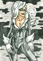 Black Cat Sketch Card by ibroussardart