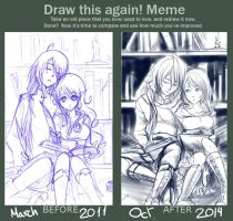 [Meme] Draw it again - Sleepy library by Shiroi-Raven