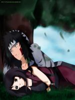Under tree Kiba and Mitsu by lazycreator