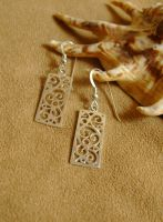 Creativity - Rectangular Filigree Earrings by GeshaR