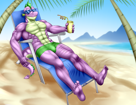 Commission - Relaxing in beach by Pia-sama