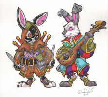 Rogue and Bard Bunny Commissions by badgerlordstudios