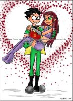 Robin and Starfire in Love by FuSSsL