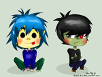 2-D and Murdoc by Friwil