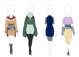 Naruto outfits Konoha clan inspired - CLOSED by Universeseed