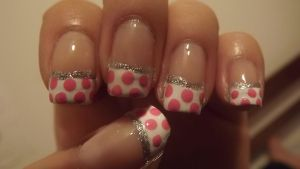 Pink Polka Dot nails by xsheervanilla