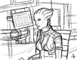 Mass Effect 3 Liara T'Soni - Quick Sketch by jlel