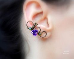 Purple rose wire wrapped ear cuff by IanirasArtifacts