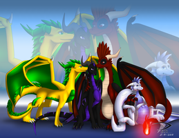 [COM] Happy dark n light Dragon Family by Sabre471