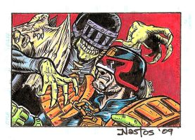 Color Judge Dredd Sketchcard by ElfSong-Mat