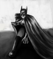 batman black and white by greenCrocodile