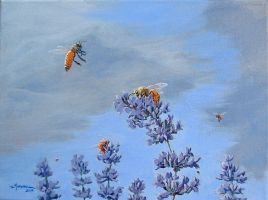 Bees and Lavender by Caddisman