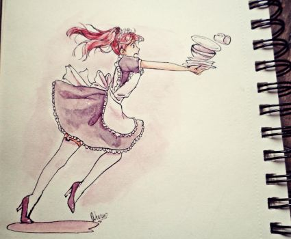 Clumsy meido by Wernope
